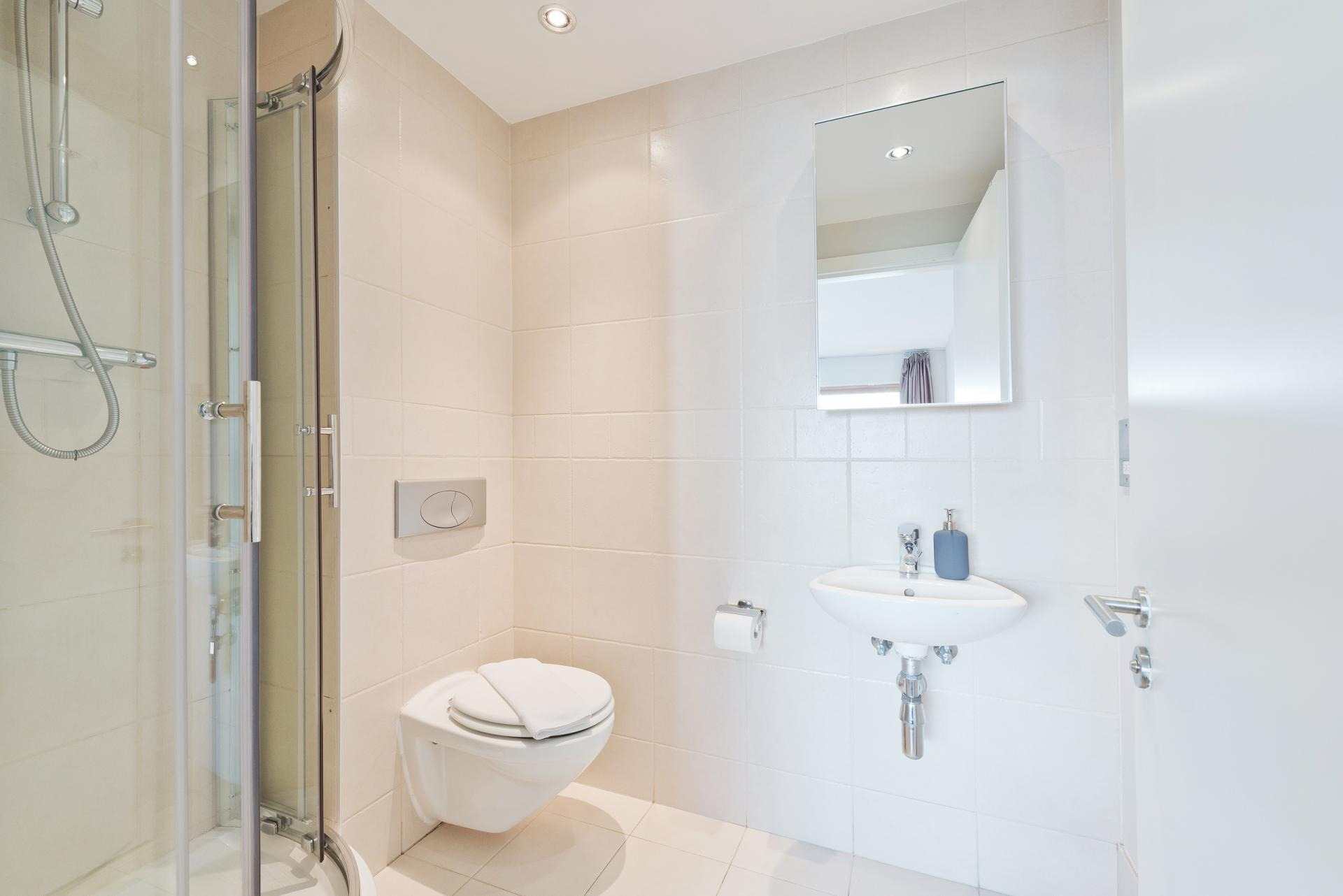 En suite shower at Grand Canal Square 16 Apartment - Citybase Apartments