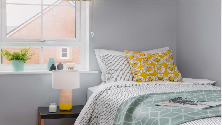 Bright bedroom at vCoventry Scandi House - Citybase Apartments