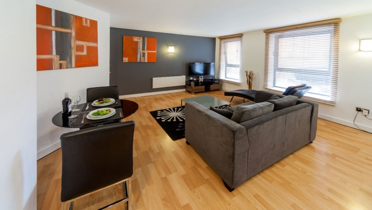 Scenic living area at West One Apartments - Citybase Apartments