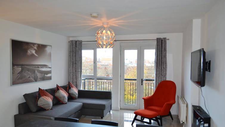 Living area at the Belfast Penthouse & Apart - Citybase Apartments