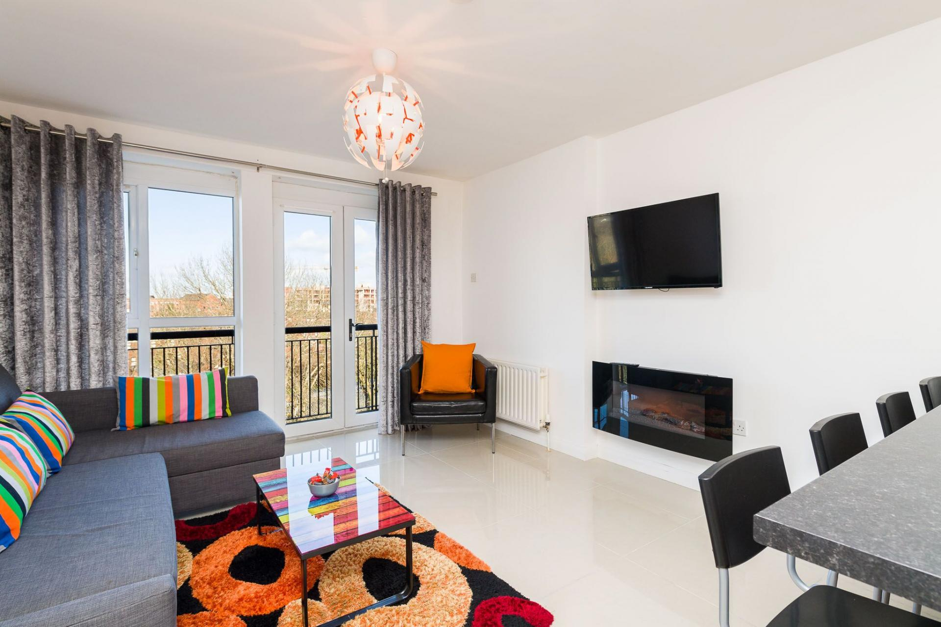 Spacious lounge at Belfast Penthouse & Apartments, Centre, Belfast - Citybase Apartments