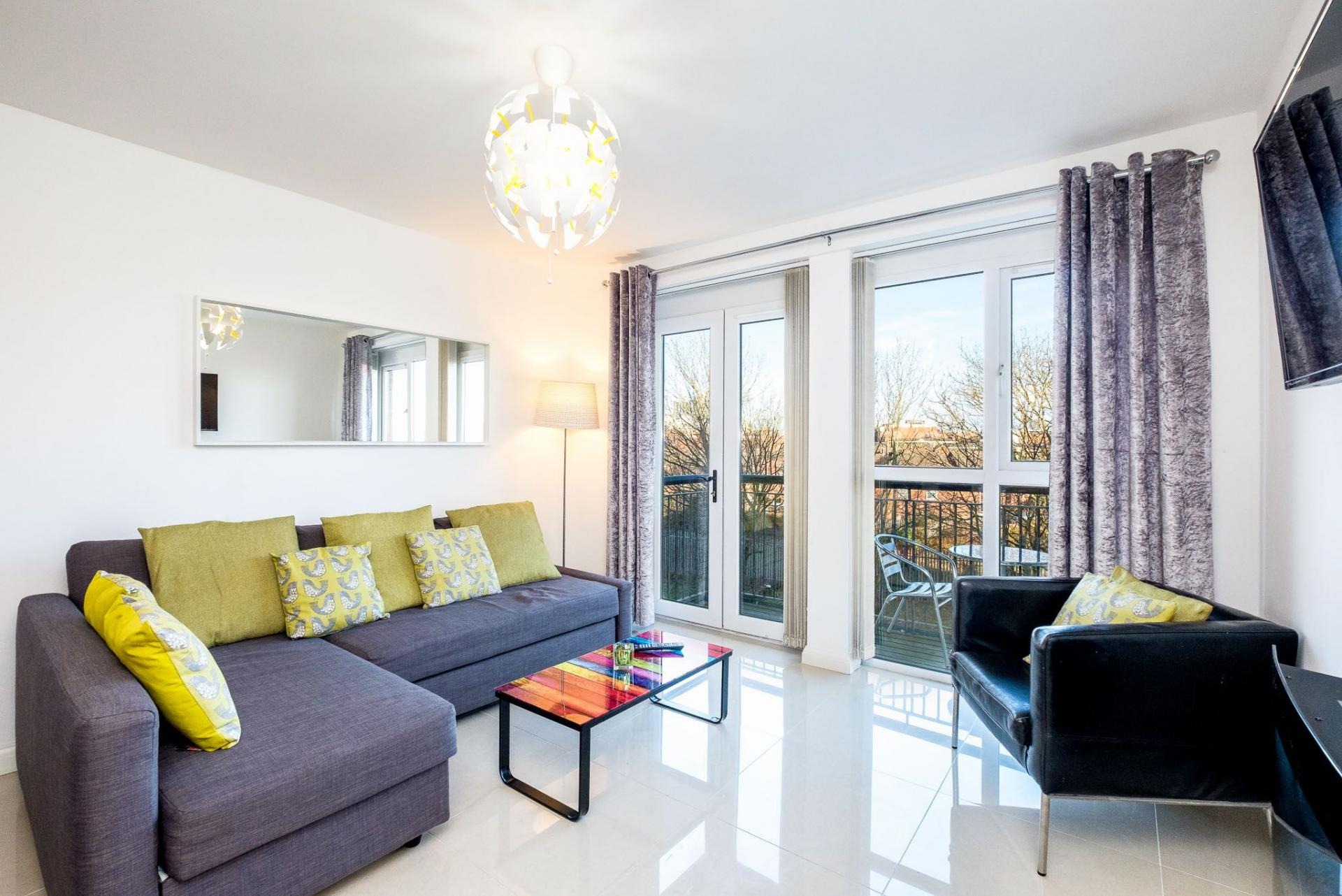 Bright lounge at Belfast Penthouse & Apartments, Centre, Belfast - Citybase Apartments