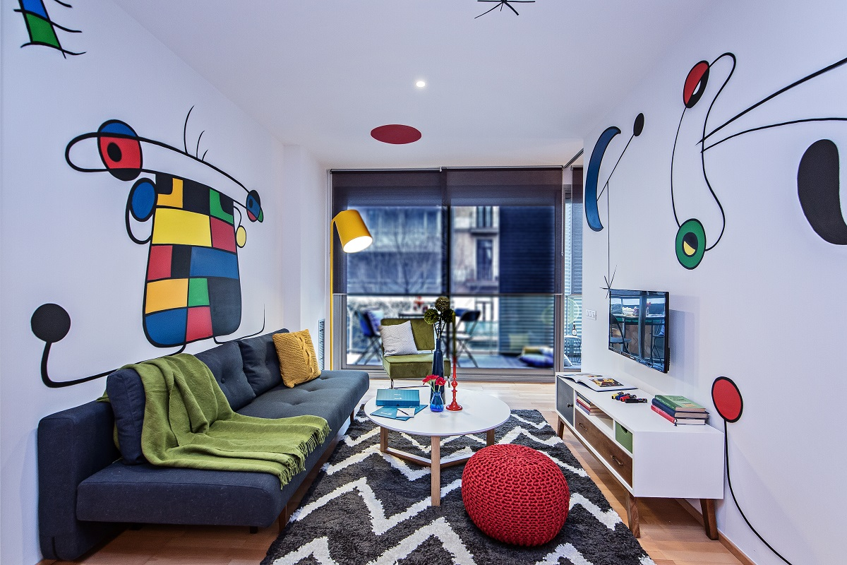 Colourful living room at Calabria Apartments - Citybase Apartments