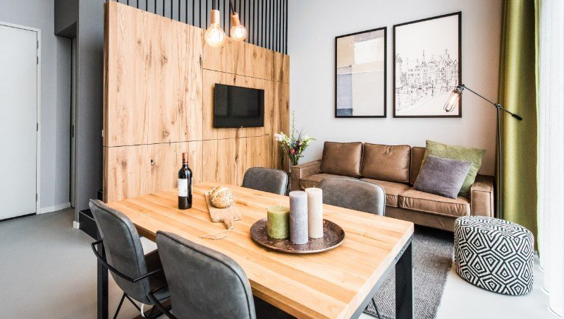 Stylish living area at Eastern Docklands Apartments, Amsterdam - Citybase Apartments