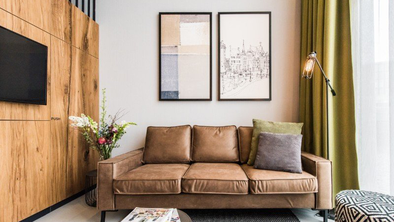 Living room at Eastern Docklands Apartments, Amsterdam - Citybase Apartments