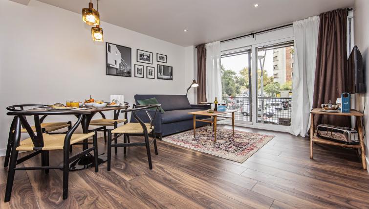 Living area at Plaza Espana Fira Apartment - Citybase Apartments