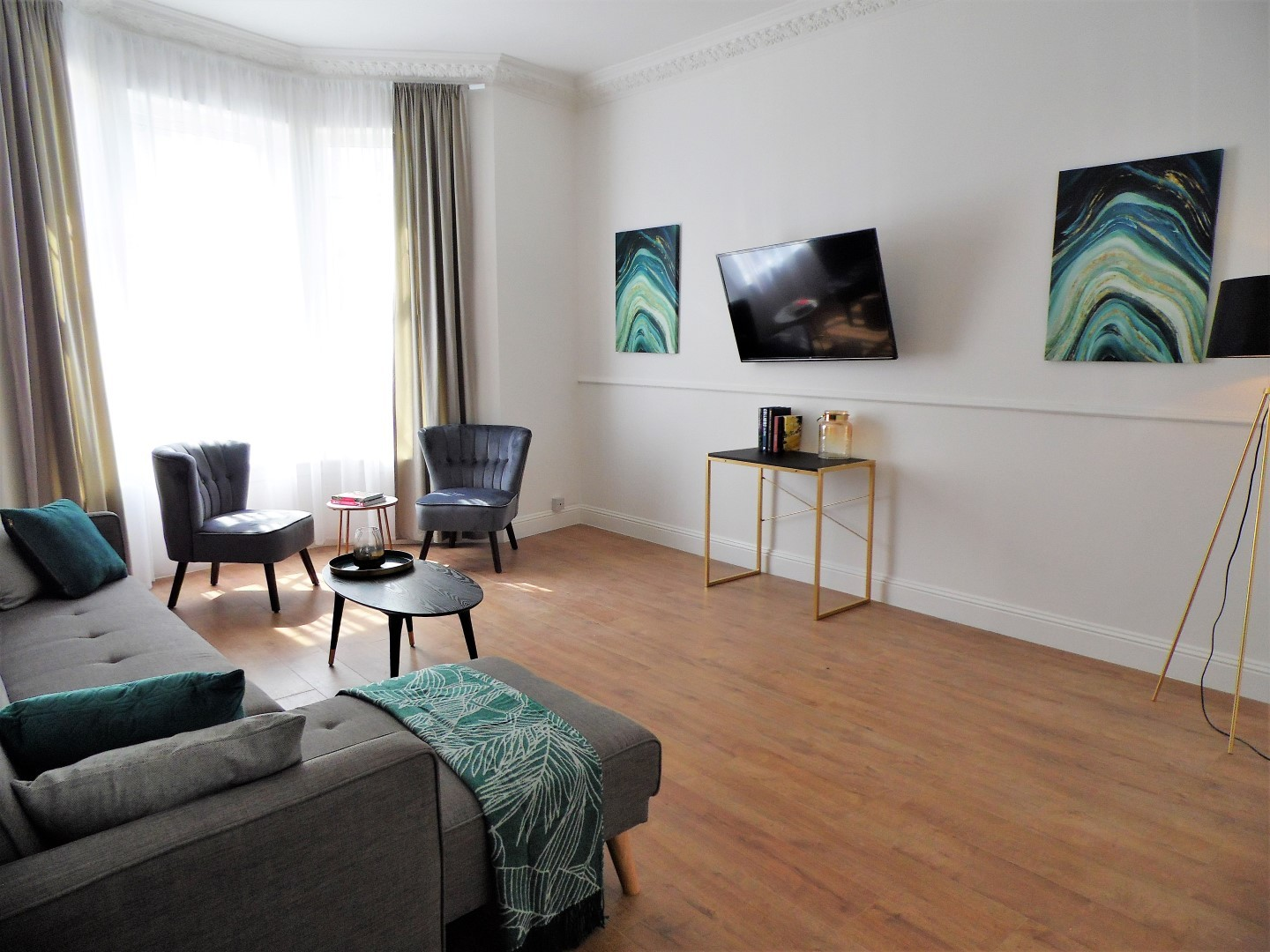 Stylish living area at Langlands House - Citybase Apartments