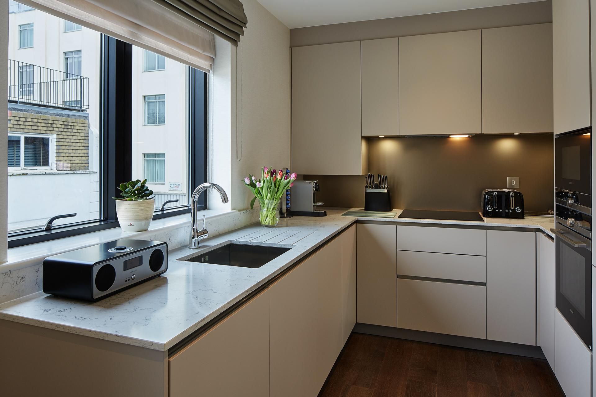 Kitchen at 29-31 Cheval Place Apartments, Knightsbridge, London - Citybase Apartments