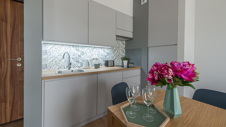 Equipped kitchen at Bakalarska Serviced Apartment - Citybase Apartments