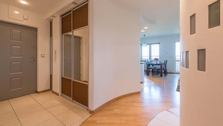 Hallway at Zelazna Brewery Apartment - Citybase Apartments