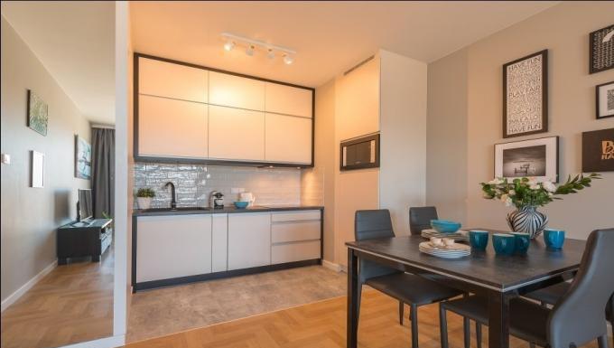 Living area at Konstruktorska Apartment - Citybase Apartments