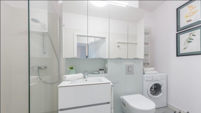 Bathroom at Konstruktorska Apartment - Citybase Apartments