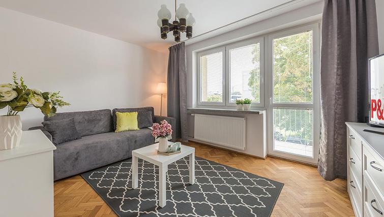 Living area at Pulawska Apartment - Citybase Apartments