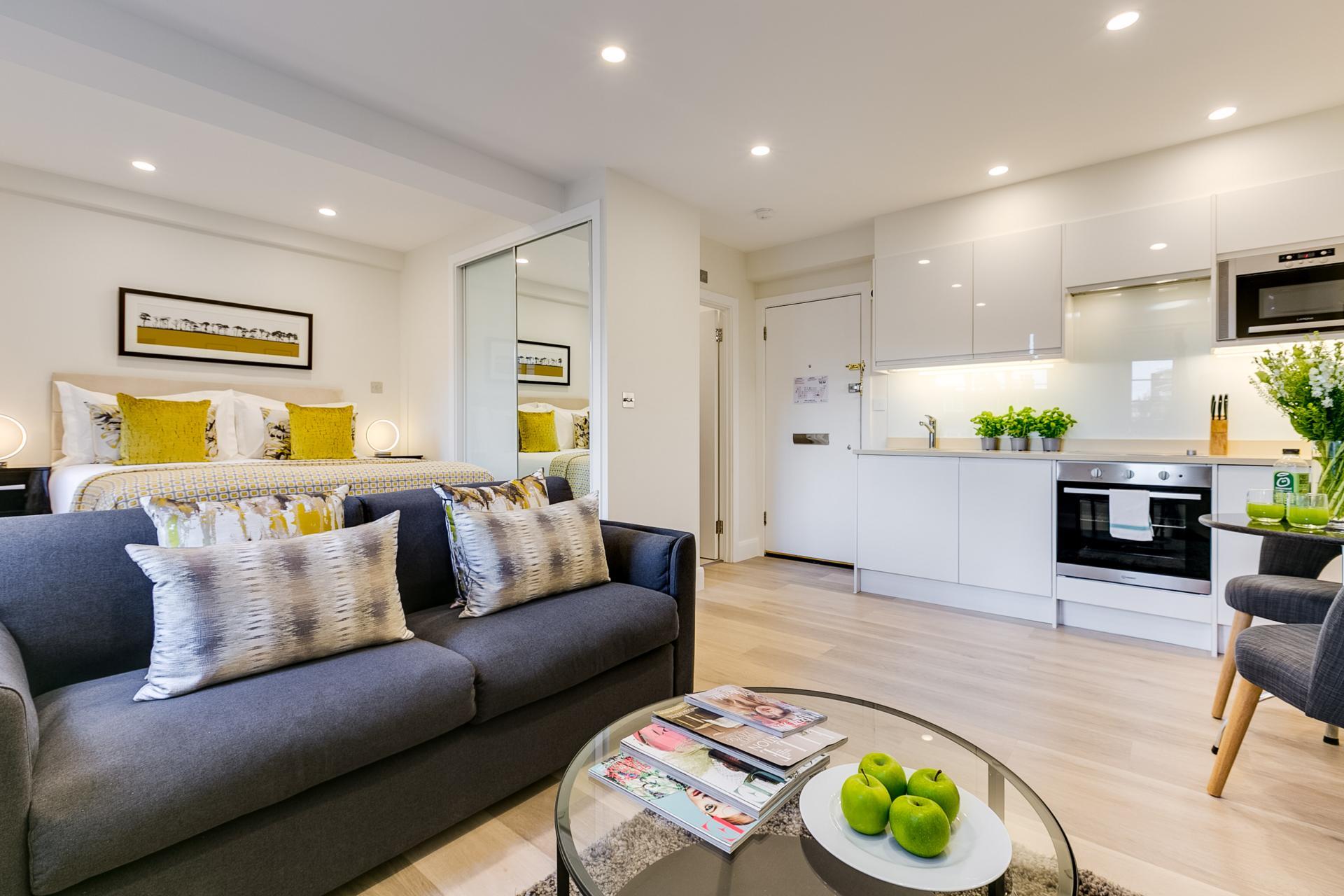 Sofa at Nell Gwynn Chelsea Accommodation, Chelsea, London - Citybase Apartments