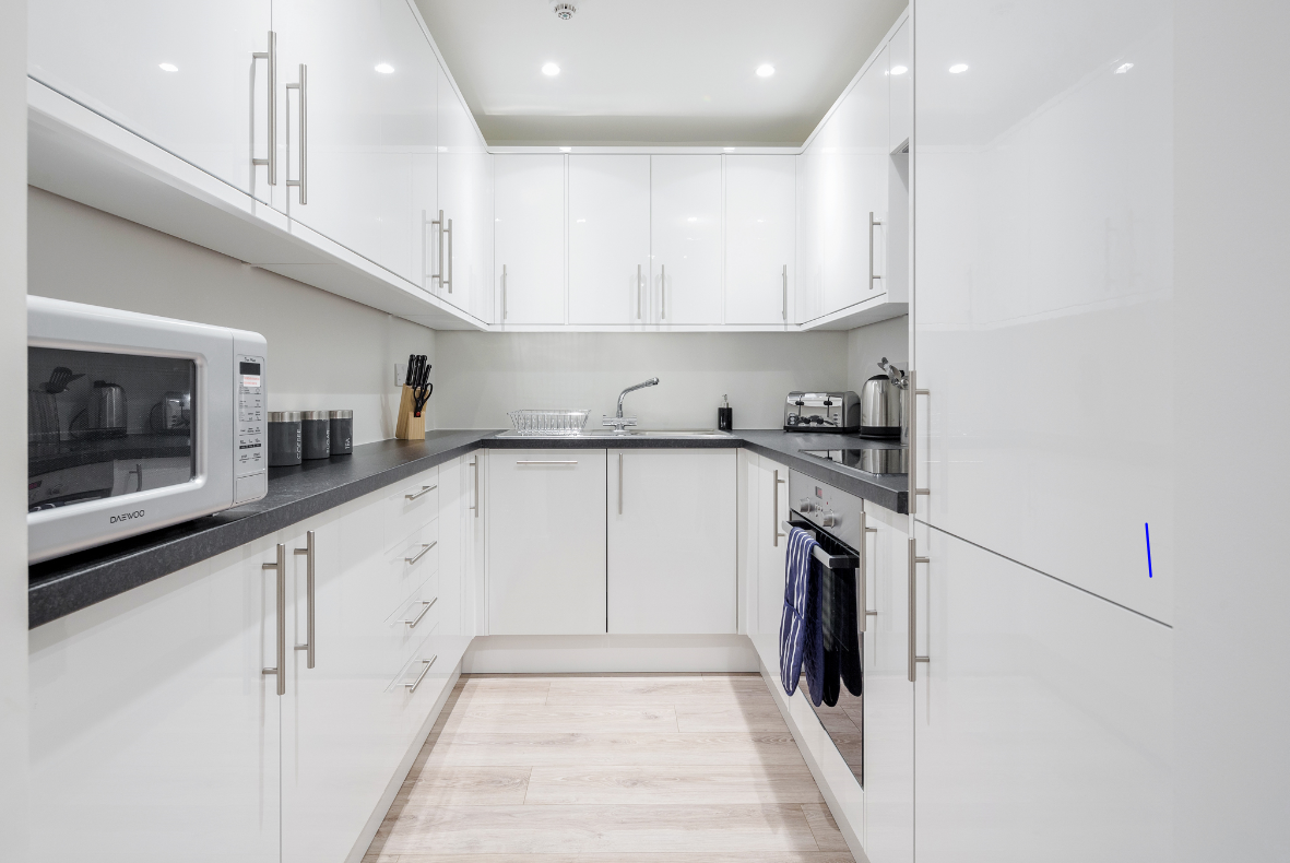 Kitchen at New Compton Apartments, Covent Garden, London - Citybase Apartments