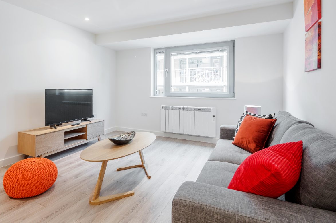 Living area at New Compton Apartments, Covent Garden, London - Citybase Apartments