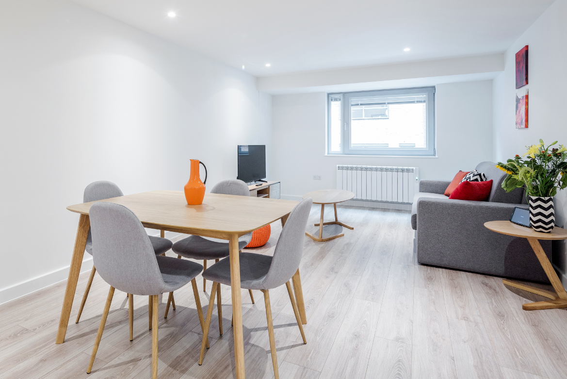 Dining area at New Compton Apartments, Covent Garden, London - Citybase Apartments