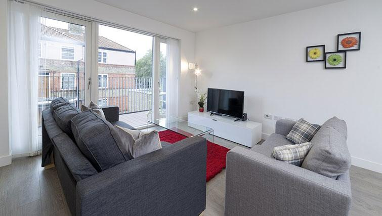 Modern living room at Tower Bridge Serviced Apartments - Citybase Apartments
