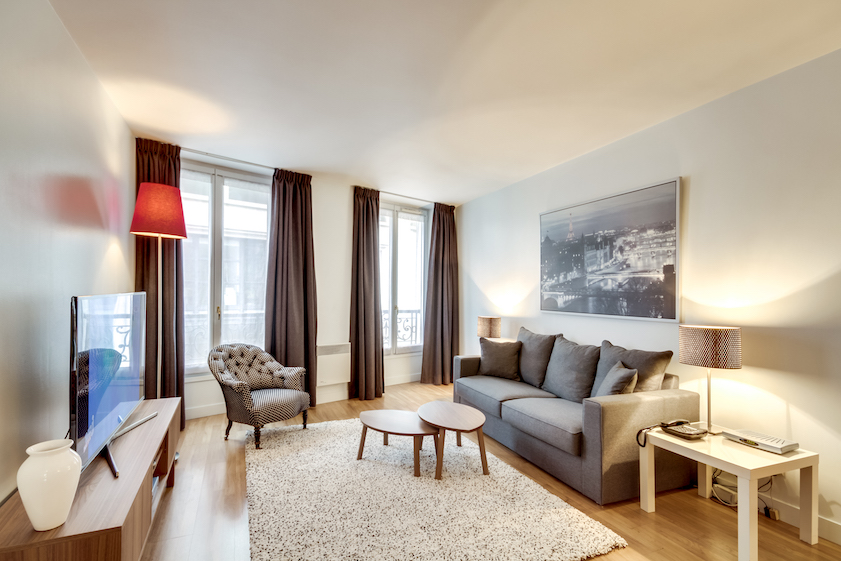 Living room at Rue Du Mail Apartments - Citybase Apartments