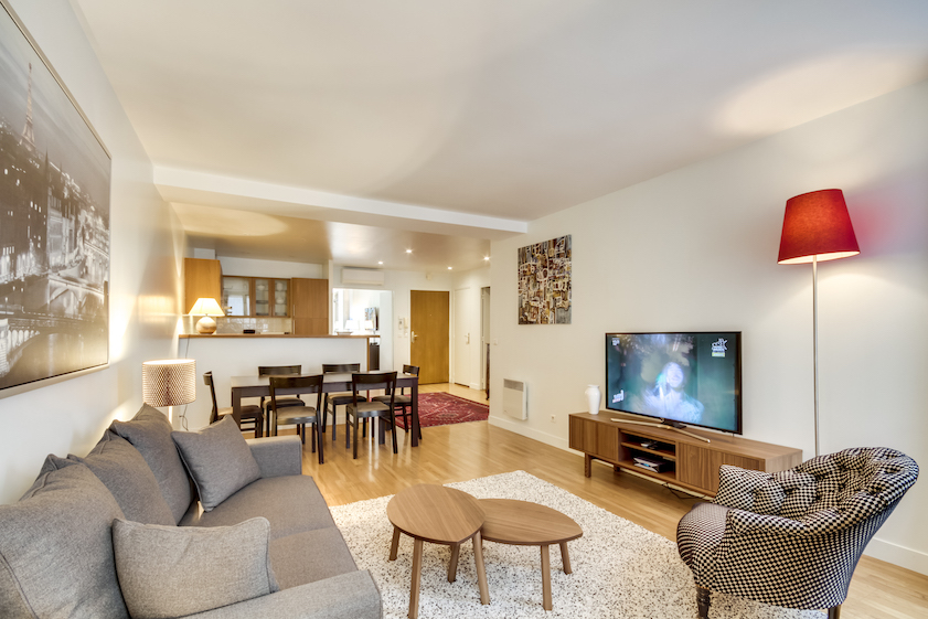 Comfy living room at Rue Du Mail Apartments - Citybase Apartments