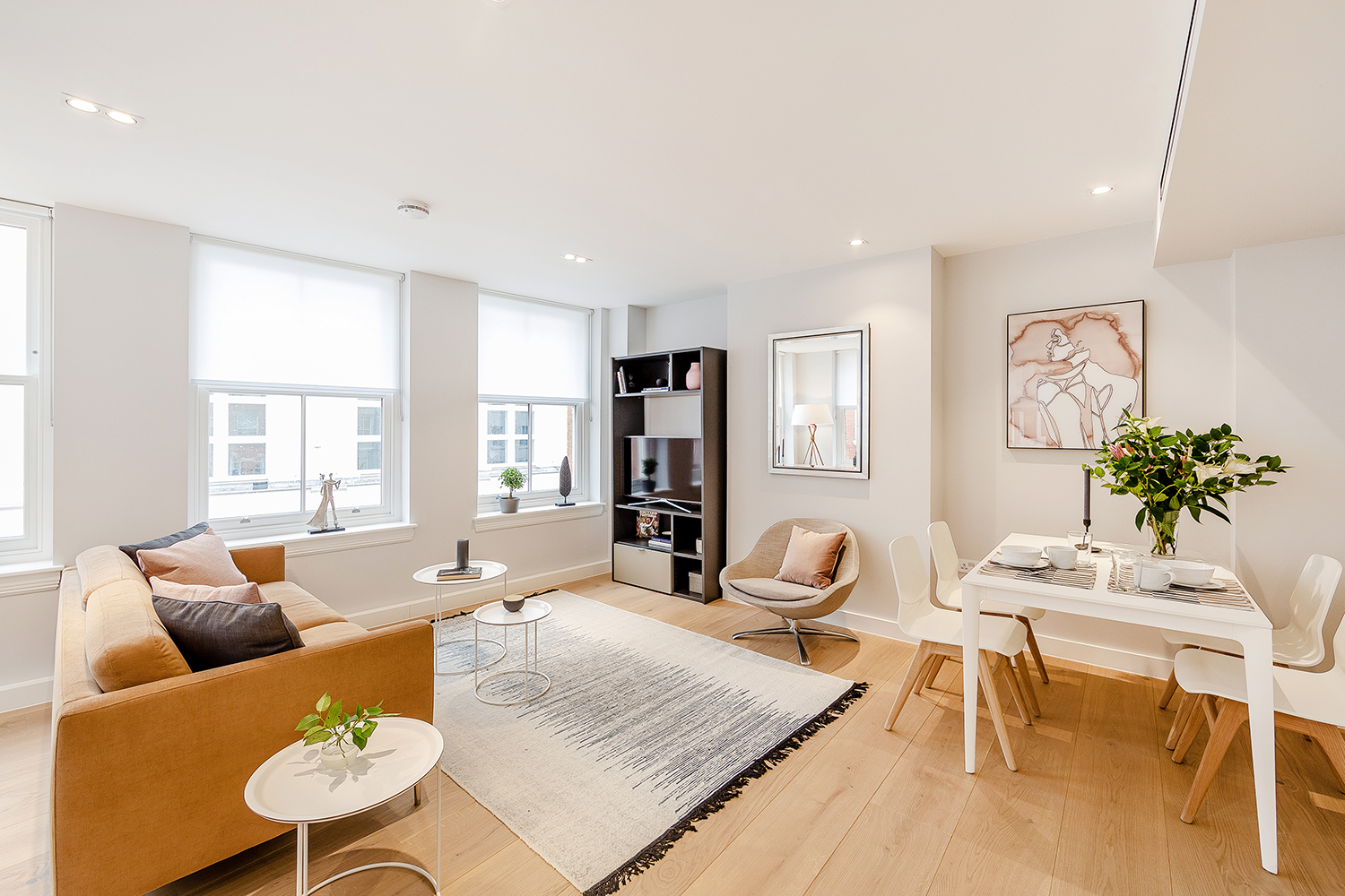 Open-plan living space at Floral Street Serviced Apartments, Covent Garden, London - Citybase Apartments