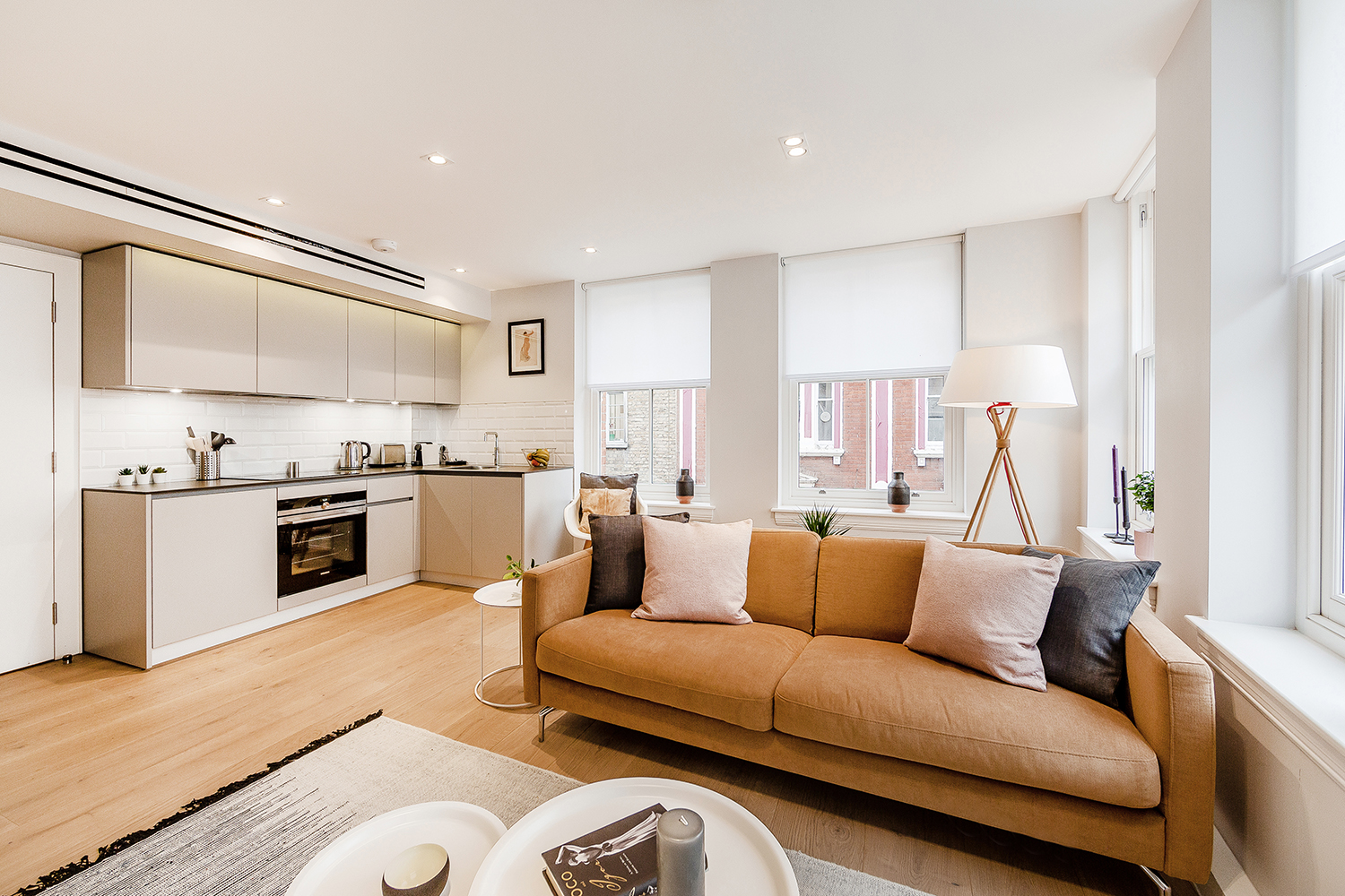 Leather sofa at Floral Street Serviced Apartments, Covent Garden, London - Citybase Apartments