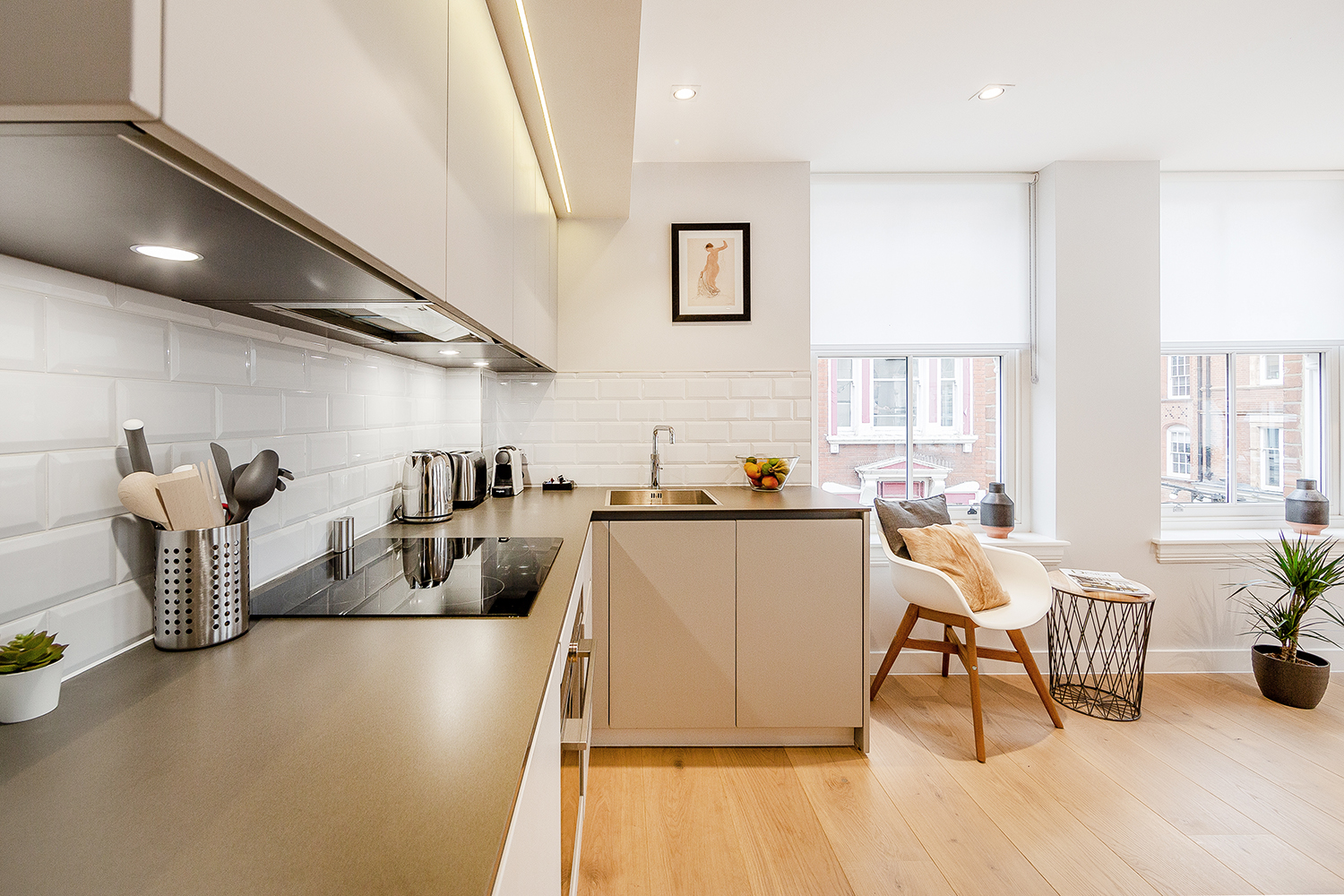 Bright kitchen at Floral Street Serviced Apartments, Covent Garden, London - Citybase Apartments