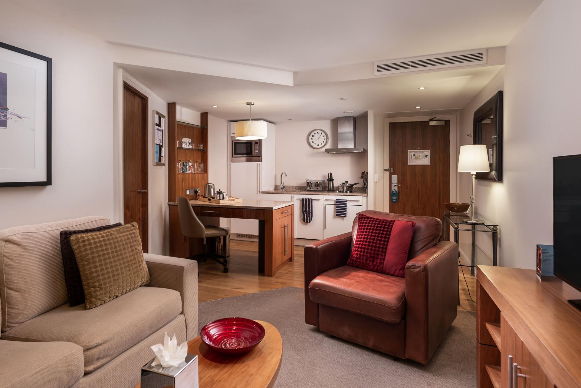 Living area at Newcastle Staybridge Suites Newcastle - Citybase Apartments