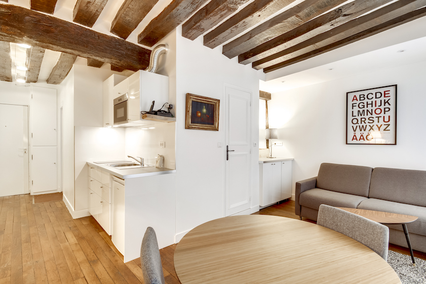 1 bedroom apartment layout at Rue Saint-Sauveur Apartments - Citybase Apartments