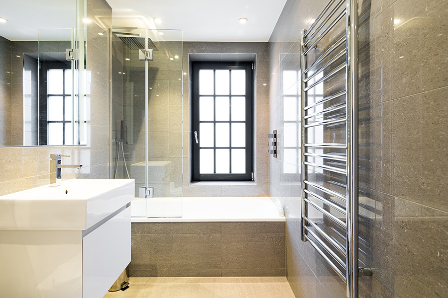 Modern bathroom at Omega Place Apartment - Citybase Apartments