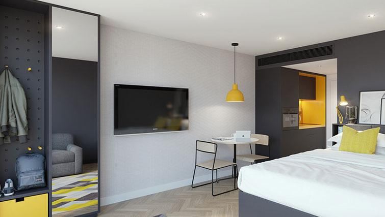 Modern living area at Staycity Aparthotel Dublin Castle - Citybase Apartments