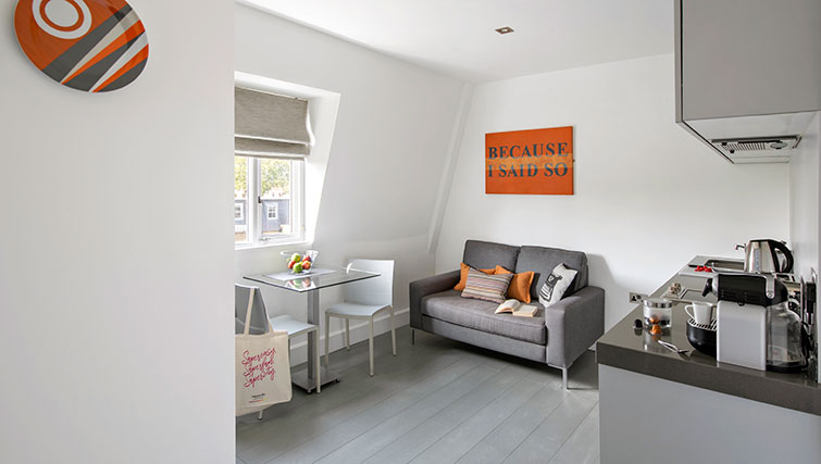 Living area at Templeton Place Aparthotel - Citybase Apartments
