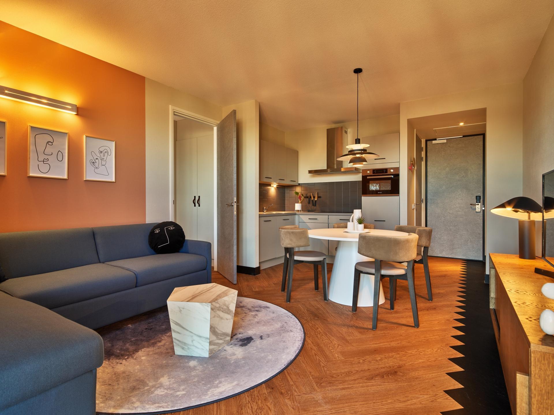 Open plan living at The Garden Apartments, Amstelveen, Amsterdam - Citybase Apartments