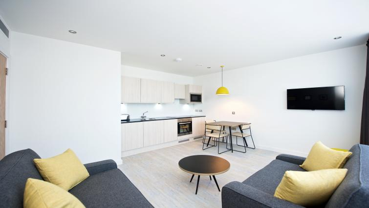 Living room at Staycity Liverpool Waterfront - Citybase Apartments