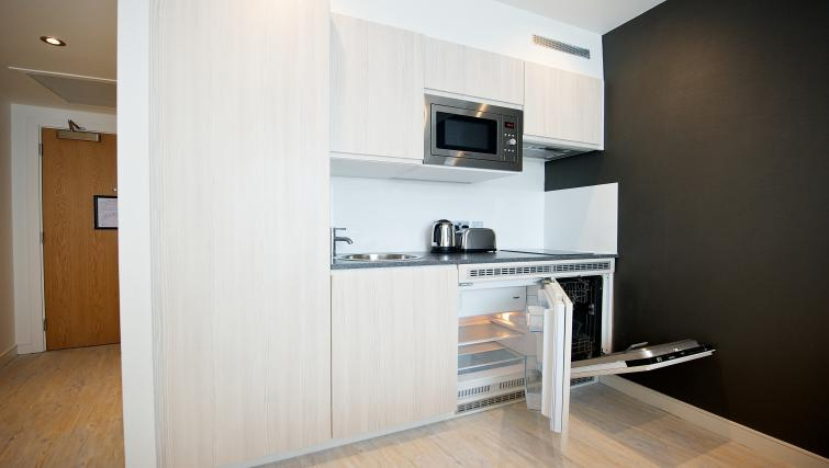 Kitchen area at Staycity Liverpool Waterfront - Citybase Apartments
