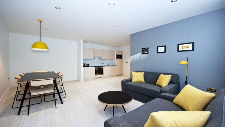 Spacious living area at Staycity Liverpool Waterfront - Citybase Apartments