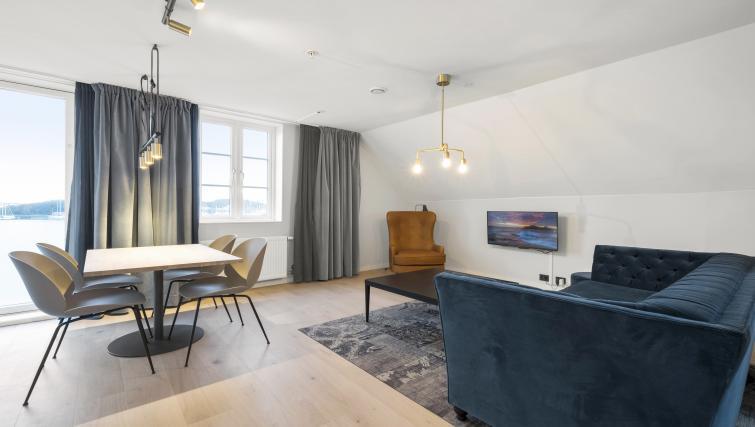 Modern living area at Verksgata Apartments - Citybase Apartments