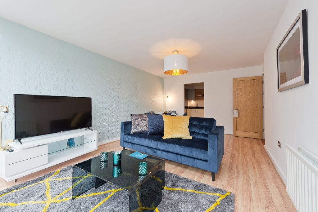 Stylish living room at Spacious Grand Canal Apartments - Citybase Apartments