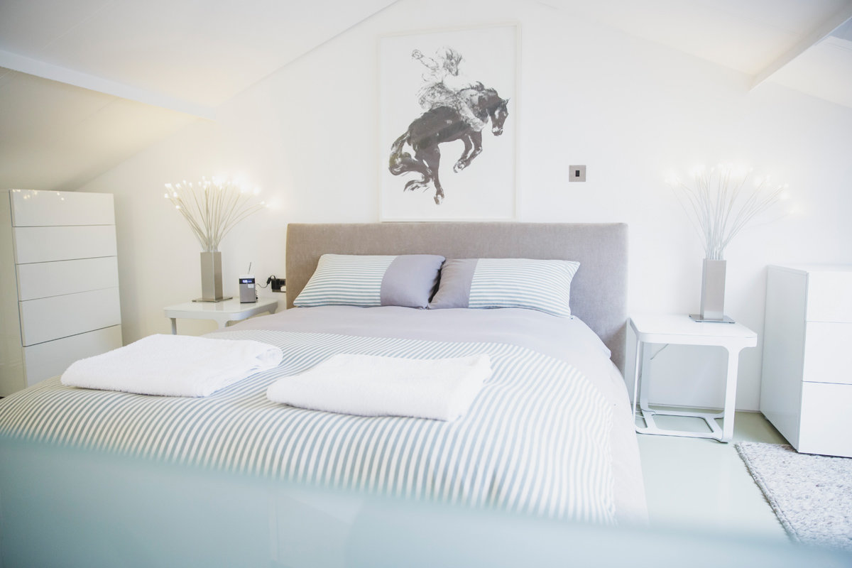 Bright bedroom at Paintworks Apartments - Citybase Apartments