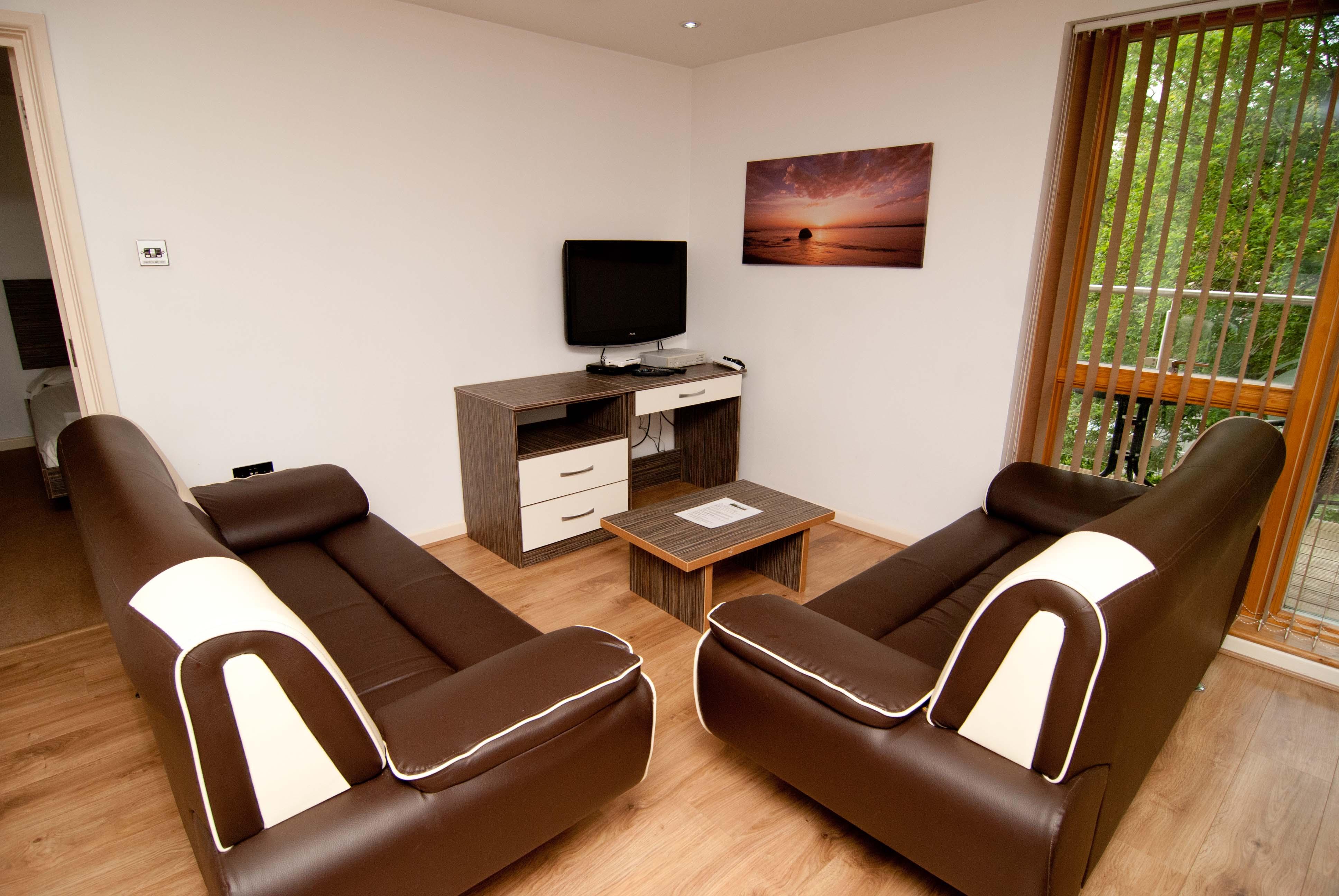 Brown sofas at Southampton Serviced Apartments - Citybase Apartments