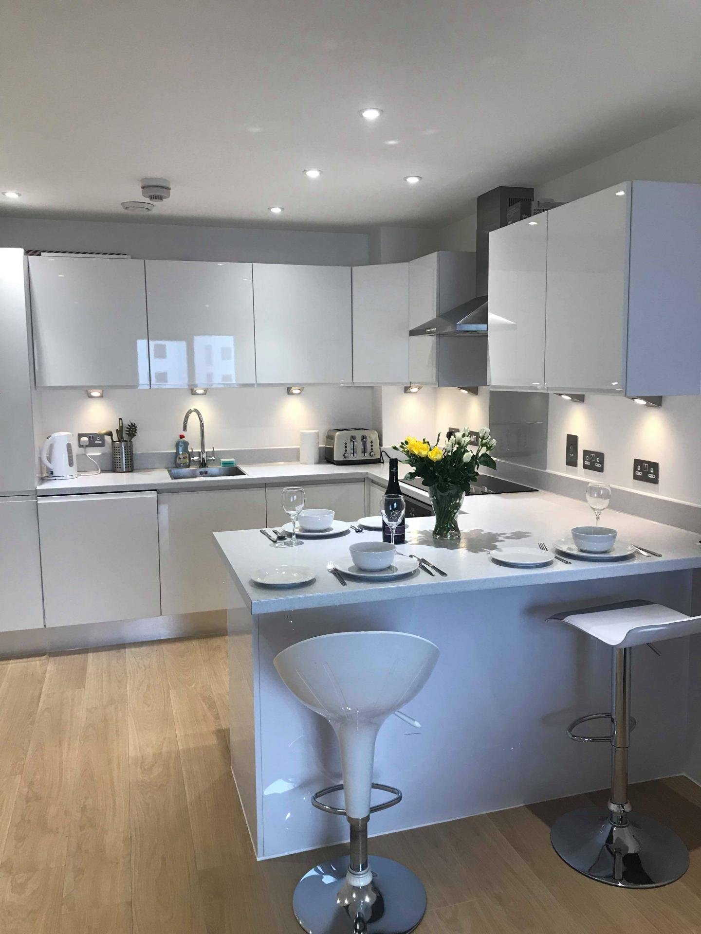 Kitchen at Ocean Village Serviced Apartments, Ocean Village, Southampton - Citybase Apartments