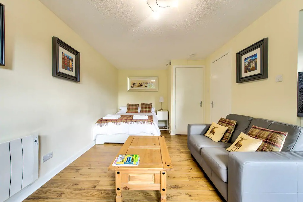 Sofa at Grassmarket Studio Apartment - Citybase Apartments