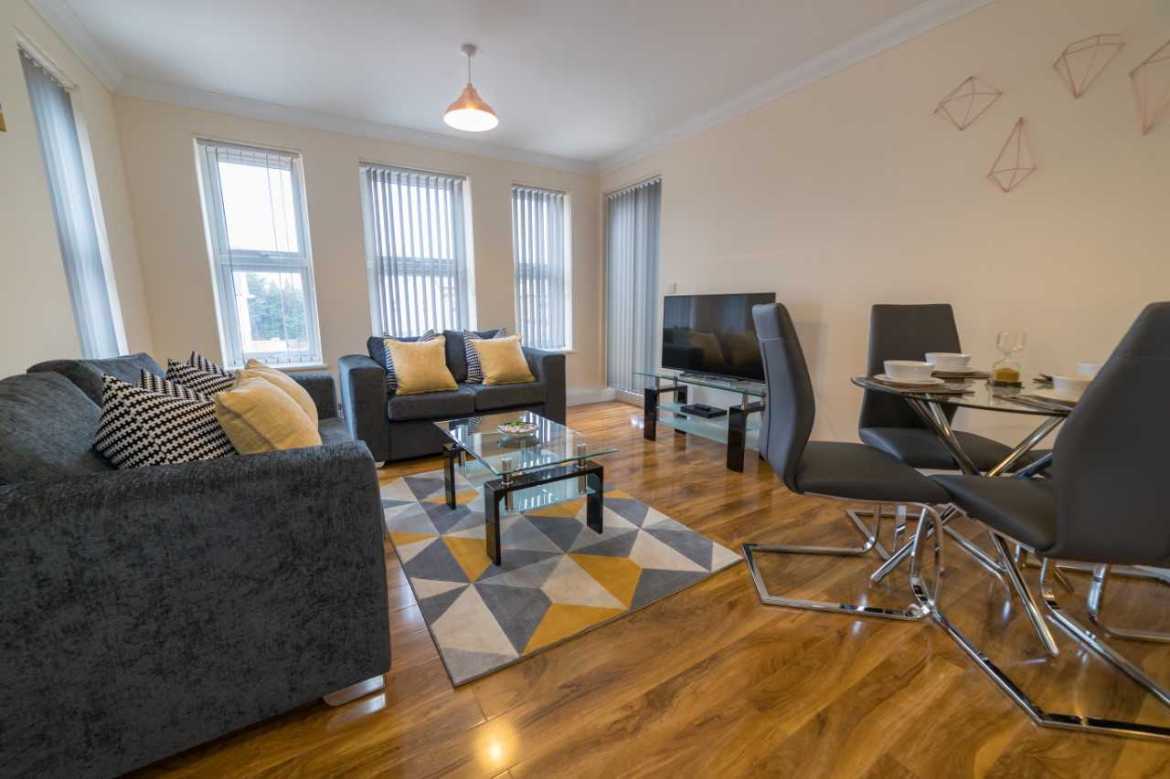 Living room at London Heathrow Serviced Apartments - Citybase Apartments