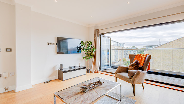 Open-plan living area at Concord House - Citybase Apartments