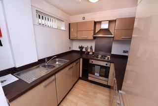 Modern kitchen at Deansgate Apartments, Deansgate, Manchester - Citybase Apartments