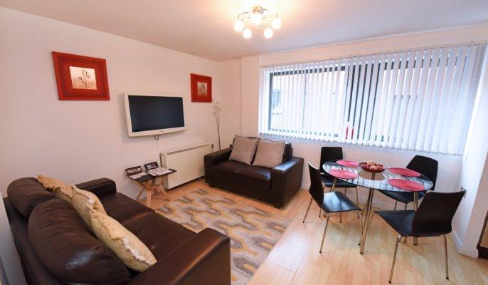 Expansive living area at Deansgate Apartments, Deansgate, Manchester - Citybase Apartments