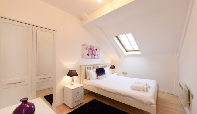 Modern living area at Deansgate Apartments, Deansgate, Manchester - Citybase Apartments