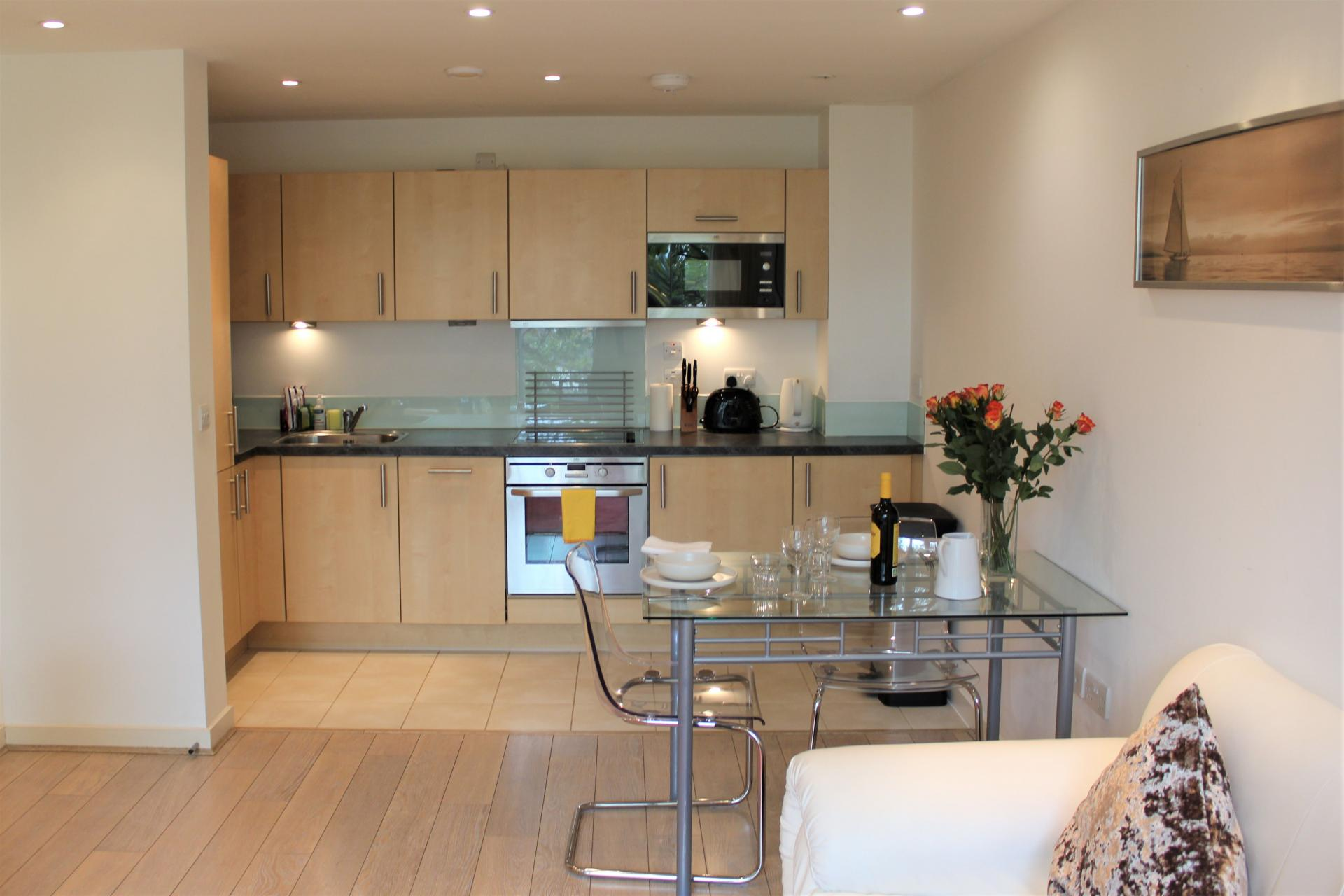 Kitchen and dining area at Gunwharf Quays Apartments, Gunwharf Quays, Portsmouth - Citybase Apartments