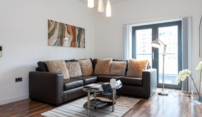 Expansive living area at Bloom Apartments, Centre, Manchester - Citybase Apartments