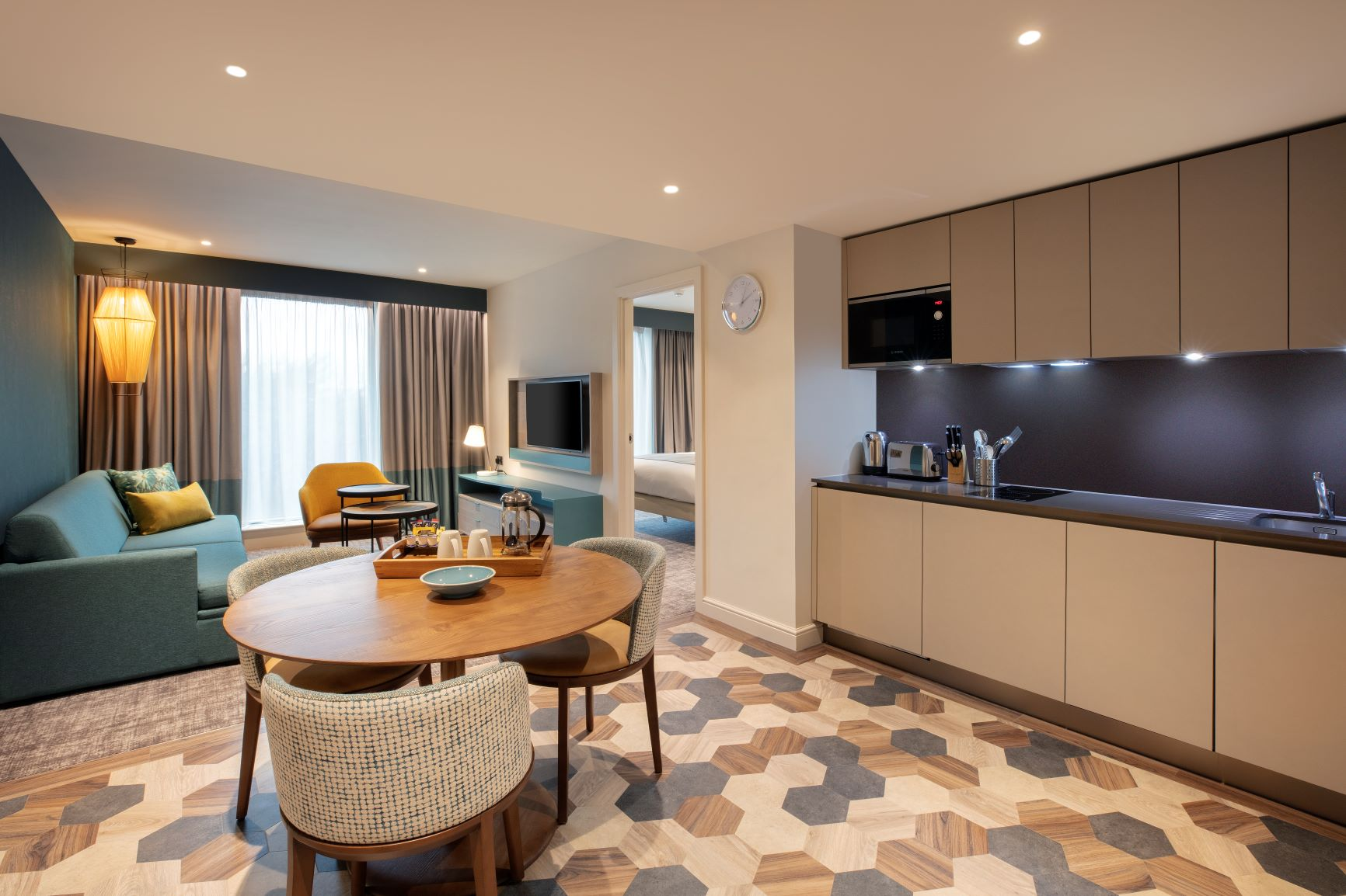 Kitchen area at Staybridge Heathrow Apartments - Citybase Apartments